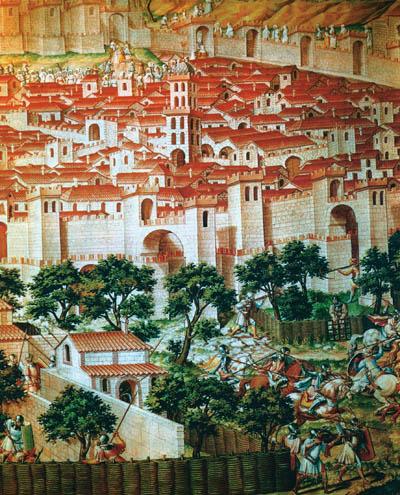 นครฆอรนาเฏาะฮฺถูกกองทัพคริสเตียนเข้าปิดล้อมปี ค.ศ. 1417 วาดโดยศิลปินชาวตะวันตก