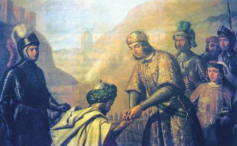 อบูอับดิลลาฮฺ อัซซ่อฆีร กษัตริย์มุสลิมคนสุดท้ายในอัลอันดะลุสคุกเข่าเบื้องหน้า กษัตริย์เฟอร์ดินานด์ที่ 5 แห่งสเปนเพื่อจุมพิตพระหัตถ์ของพระองค์