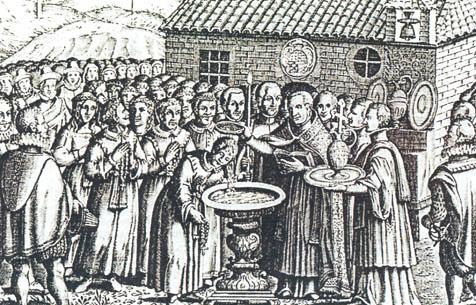 ชาวมุสลิมในนครฆอรนาเฏาะฮฺ (แกรนาดา) ถูกบังคับให้ทำพิธีศีลจุ่มเพื่อเข้ารีตในคริสตศาสนาภายหลังนครฆอรนาเฏาะฮฺตกอยู่ในกำมือของคริสเตียน