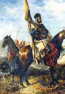 ภาพเขียนสีน้ำมัน ยูซุฟ อิบนุ ตาชฟีน ถือธงศึกนำทัพชาวมุสลิมกอบกู้อัล-อันดะลุส
