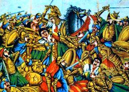 สมรภูมิอัซซัลลาเกาะฮฺ (ซาราจัส) วาดโดยชาวตะวันตก