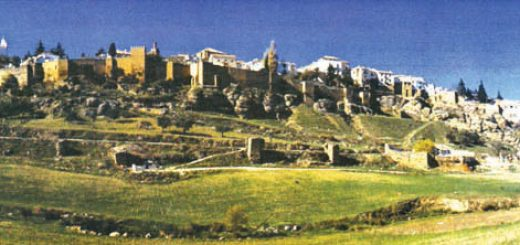 ทัศนียภาพของเมืองมาลิเกาะฮฺ (มาลากา) มองจากที่ราบเห็นแนวป้อมปราการ และยอดปราสาท, อัล-อันดะลุส (สเปน)