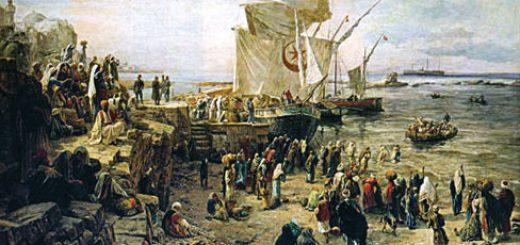 พลเมืองมุสลิมในอัล-อันดะลุส รอเรือข้ามฟากไปยังฝั่งโมรอคโคเพื่อลี้ภัยสังคราม