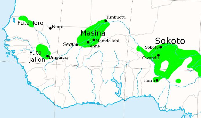 แผนที่ฟูตา ญาลูน (ที่มา https://en.wikipedia.org/wiki/Imamate_of_Futa_Jallon)