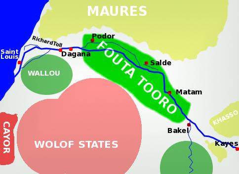 แผนที่ฟูตา โตโร (ที่มา https://en.wikipedia.org/wiki/Futa_Tooro)