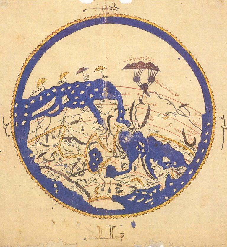 แผนที่โลก ราวปี ค.ศ.1154 ของ อัล-อิดริสียฺ (สังเกตุทิศใต้อยู่ด้านบนของภาพ)