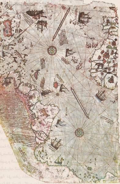 """แผนที่ """"เบรียฺ รอยิสฺ"""" อธิบายมหาสมุทรแอตแลนติกและชายฝั่งทั้งสอง สังเกตการเขียนภาษาตุรกี (เตอร์กิชฺ) ที่ใช้ตัวอักษรอาหรับ (อารบิก)"""