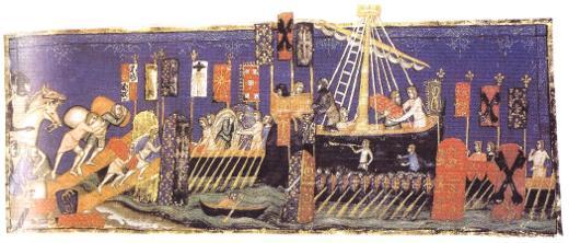 กองเรือครูเสดของฝรั่งเศส (สังเกตุเครื่องหมายอินทผลัมที่ปรากฎบนผืนธง)
