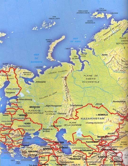 แผนที่อามูดาเรีย Amou-Daria ในรัสเซีย