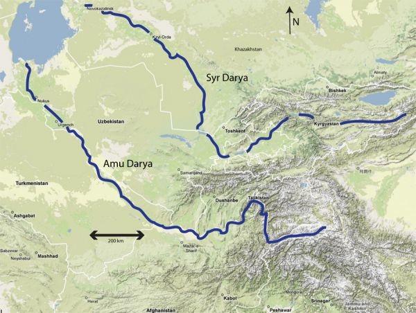 ภาพแผนที่ แม่น้ำอมูเรีย และสีรฺ-ดาเรีย, ทะเลสาปแคสเบียน